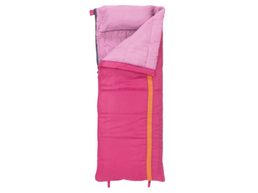"Slumberjack Kit 40 Degree Youth Sleeping Bag 23"" x 66"" Polyester Pink and Orange"