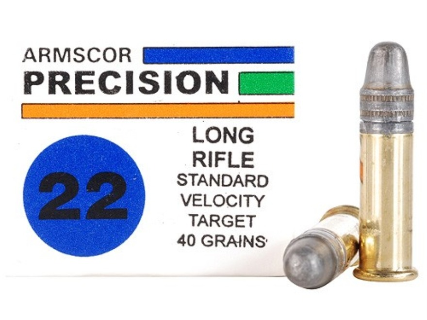 Armscor Target Ammunition 22 Long Rifle 40 Grain Lead Round Nose Box of 500 (10 Boxes of 50)