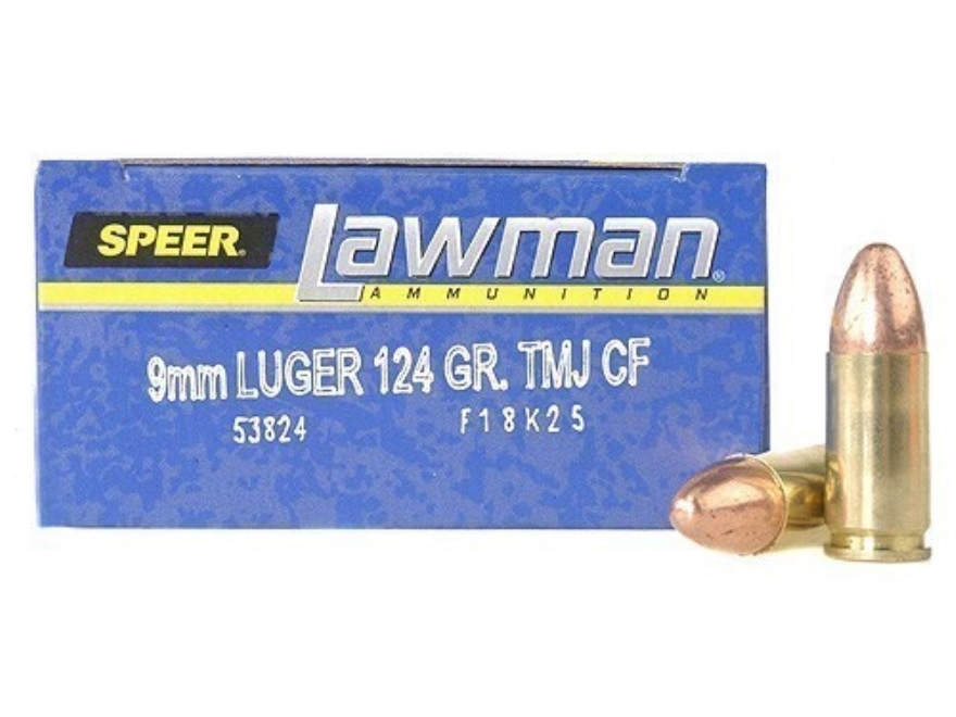 Speer Lawman Cleanfire Ammunition 9mm Luger 124 Grain Total Metal Jacket Box of 50