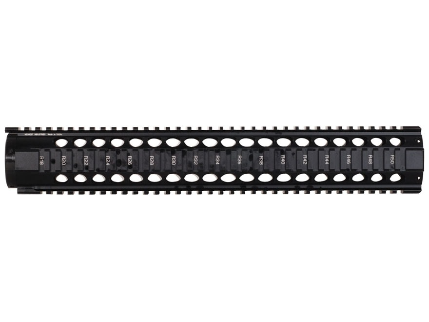 "Midwest Industries T-Series Free Float Tube Handguard Quad Rail AR-15 Extended 15"" Rifle Length Aluminum Black"