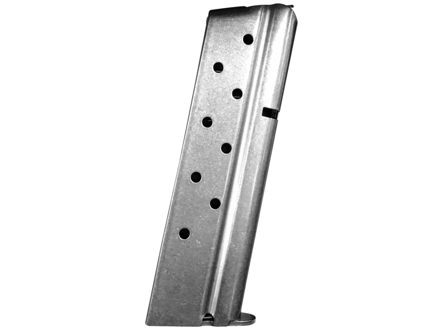Metalform Magazine 1911 Government, Commander 9mm Luger 9-Round Stainless Steel Matte Flat Follower Welded Base Front Ramp Configuration