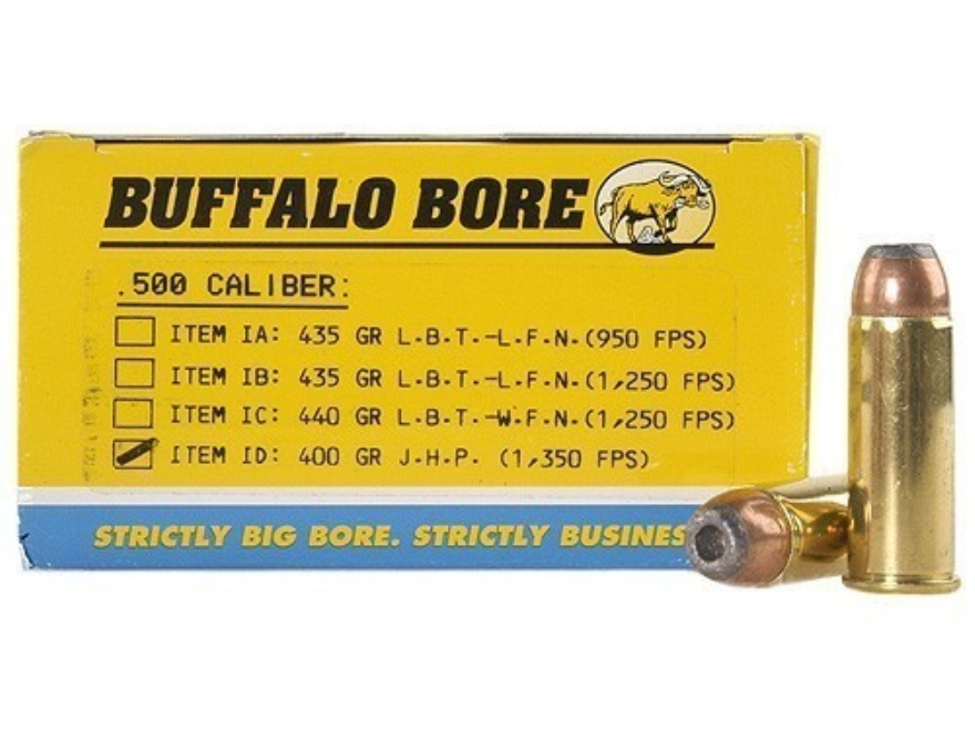 Buffalo Bore Ammunition 500 Linebaugh 400 Grain Jacketed Hollow Point Box of 50
