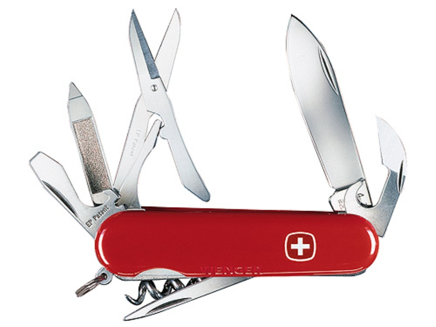 Wenger Swiss Army Traveler Folding Knife 14 Function Swiss Surgical Steel Blades Polymer Scales Red