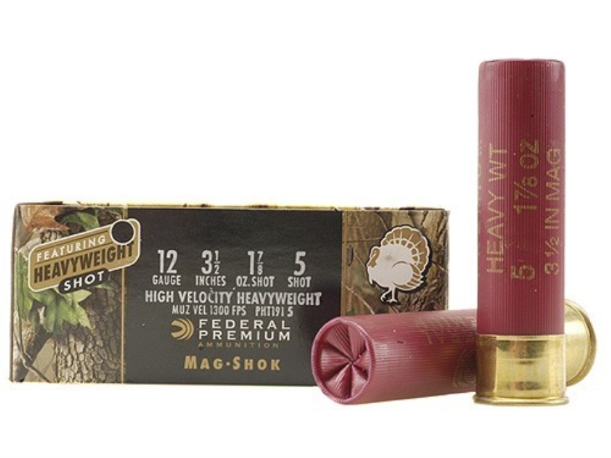 "Federal Premium Mag-Shok Turkey Ammunition 12 Gauge 3-1/2"" 1-7/8 oz #5 Heavyweight Shot Flitecontrol Wad Box of 5"
