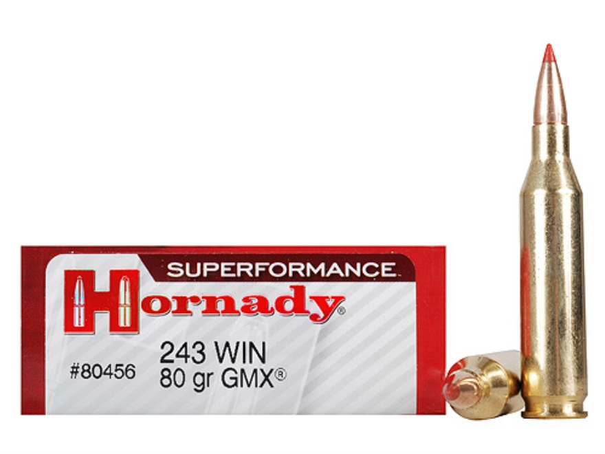 Hornady Superformance GMX Ammunition 243 Winchester 80 Grain GMX Boat Tail Lead-Free Box of 20