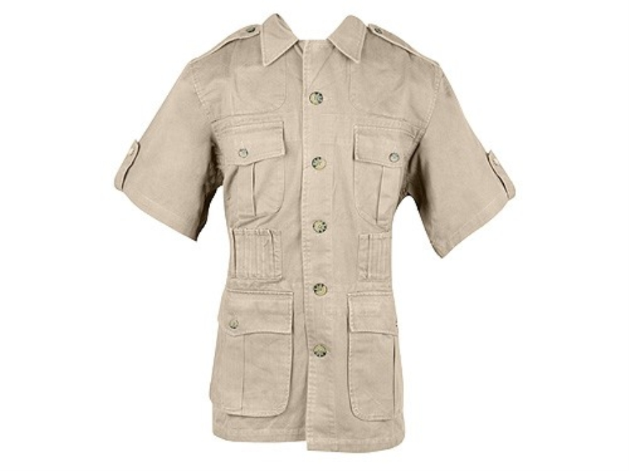 Boyt Men's Shumba Safari Jacket Short Sleeve Cotton Khaki Large 42-44