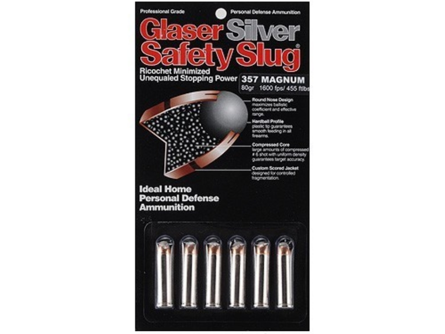 Glaser Silver Safety Slug Ammunition 357 Magnum 80 Grain Safety Slug Package of 6