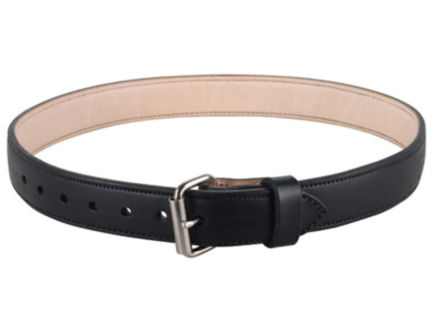 "Lenwood Leather 1400 Belt 1-3/4"" Steel Buckle Leather Black 38"""