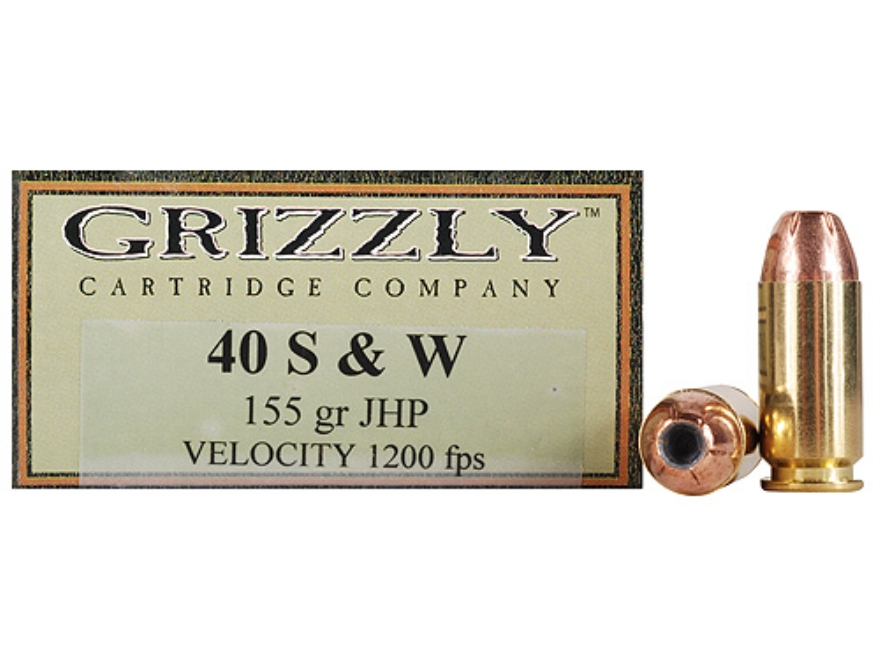 Grizzly Ammunition 40 S&W 155 Grain Jacketed Hollow Point Box of 20