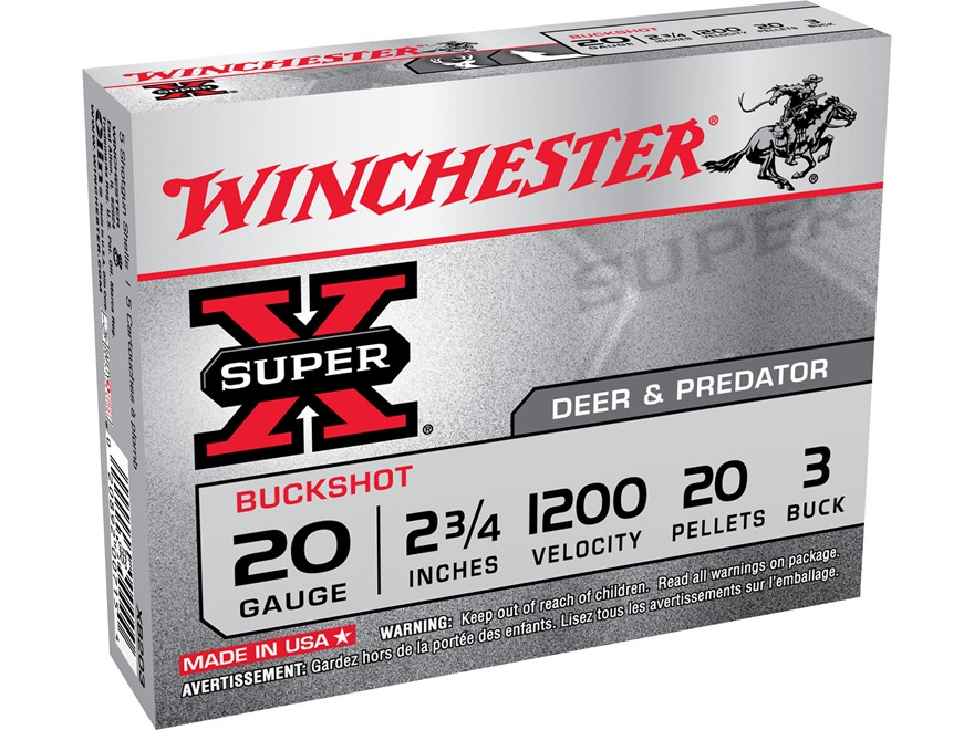 "Winchester Super-X Ammunition 20 Gauge 2-3/4"" Buffered #3 Buckshot 20 Pellets"