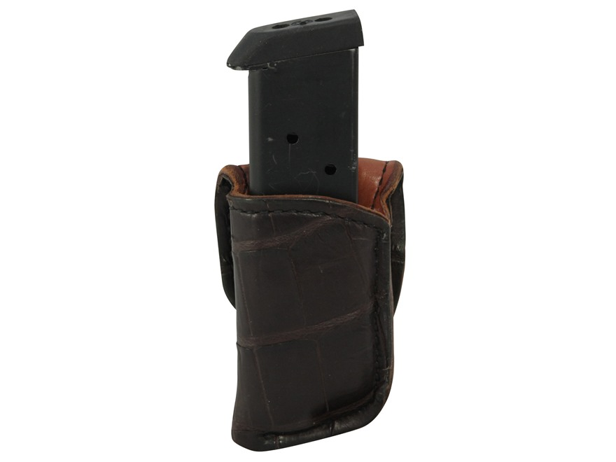 El Paso Saddlery Exotic 1F Single Magazine Pouch Single Stack 45 ACP Magazine Crocodile Cognac
