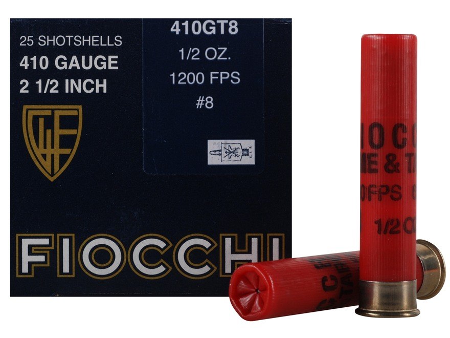 "Fiocchi Dove & Target Ammunition 410 Bore 2-1/2"" 1/2 oz #8 Shot"
