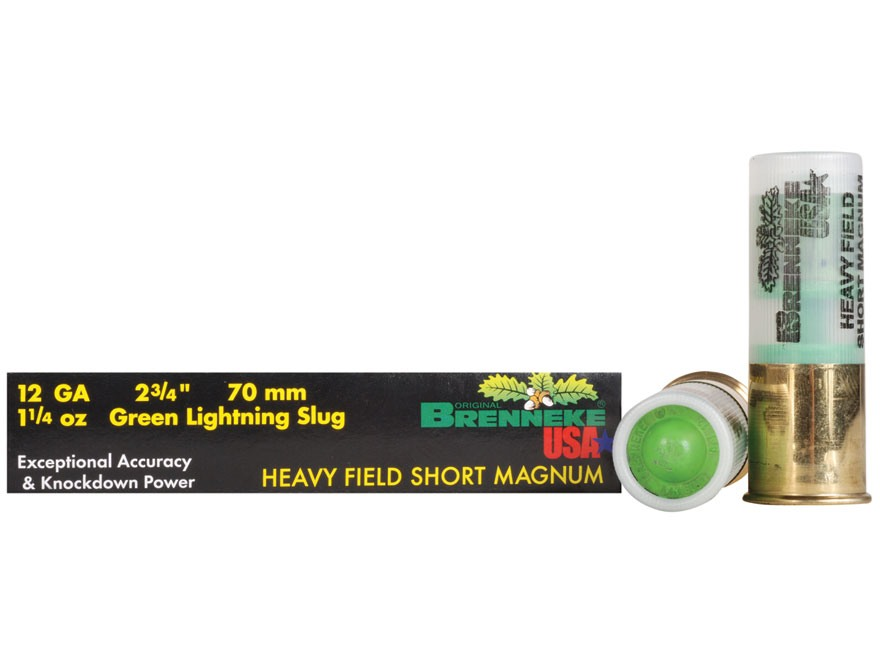 "Brenneke USA Green Lightning Heavy Field Short Magnum Ammunition 12 Gauge 2-3/4"" 1-1/4 oz Lead Rifled Slug Box of 5"