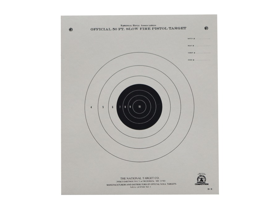 NRA Official Pistol Targets B-2 50' Slow Fire Paper Package of 100