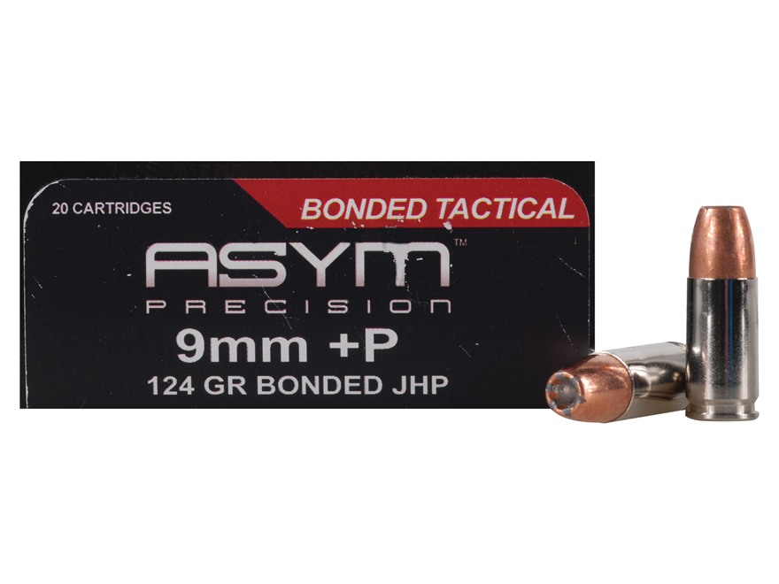 ASYM Precision Bonded Tactical Ammunition 9mm Luger +P 124 Grain Jacketed Hollow Point ...