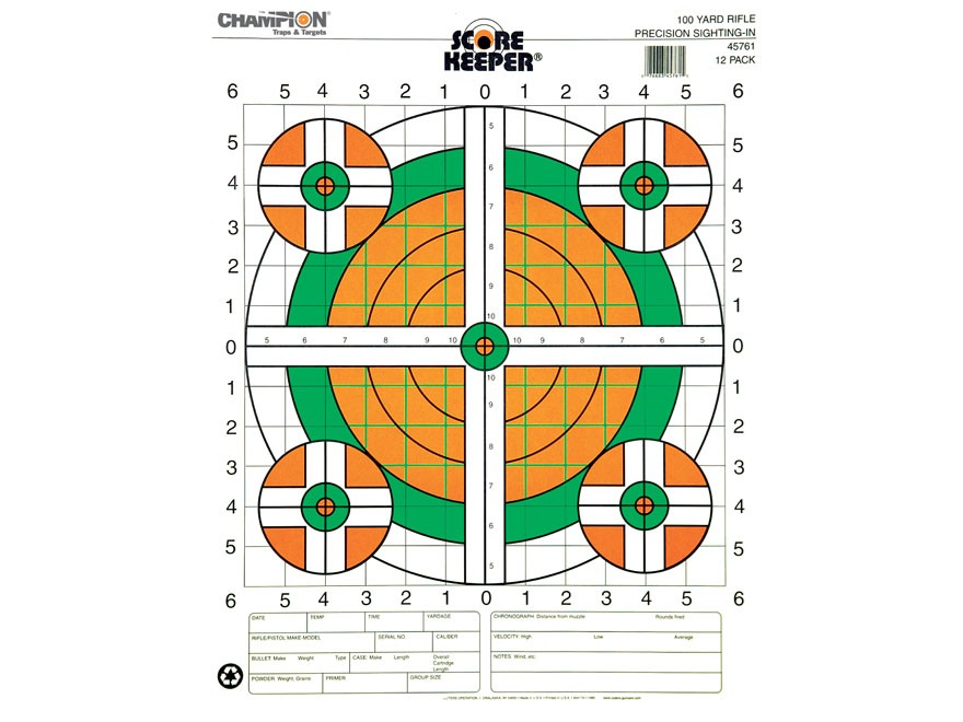 "Champion Score Keeper 100 Yard Sight-In Rifle Target 14"" x 18"" Paper Fluorescent Orange/Green Bull"