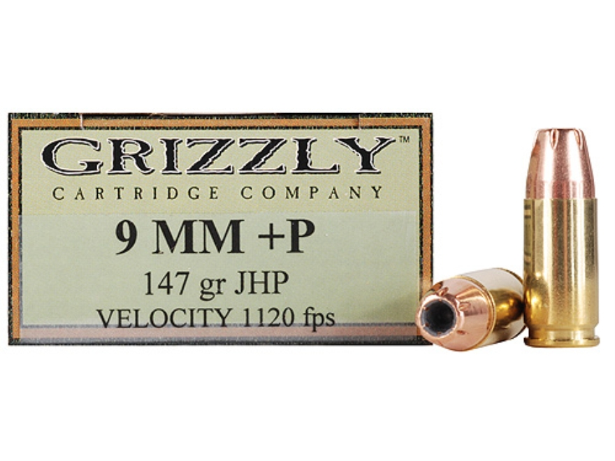 Grizzly Ammunition 9mm Luger +P 147 Grain Jacketed Hollow Point Box of 20