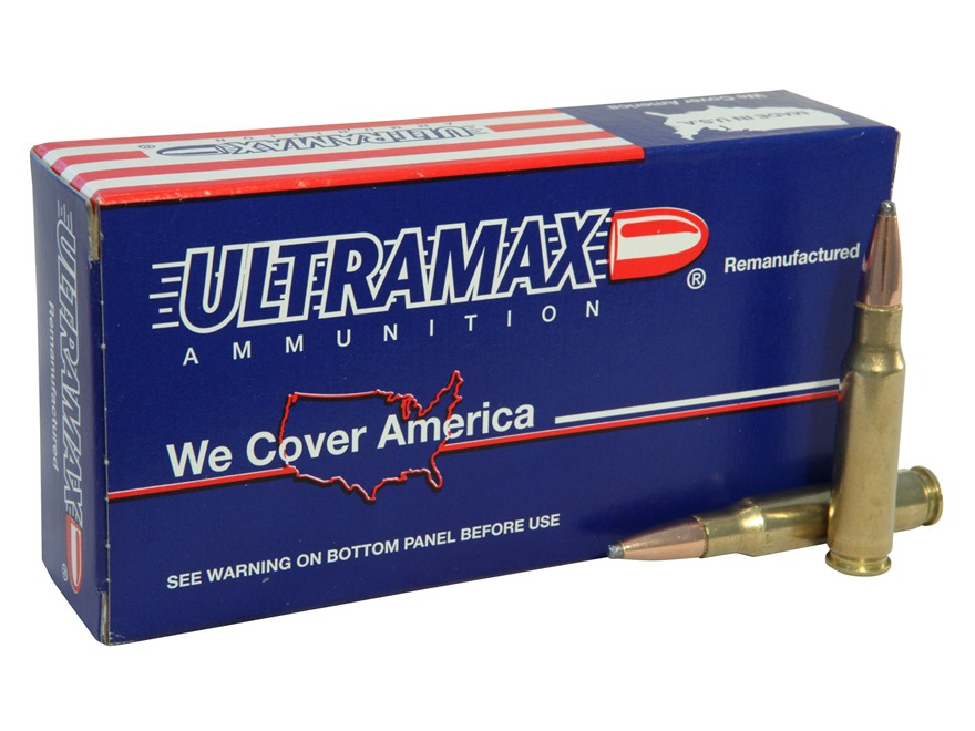 Ultramax Remanufactured Ammunition 308 Winchester 165 Grain Speer Soft Point Boat Tail Box of 20