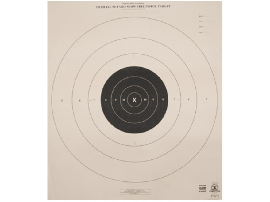 NRA Official Pistol Targets B-6 50 Yard Slow Fire Tagboard Pack of 100