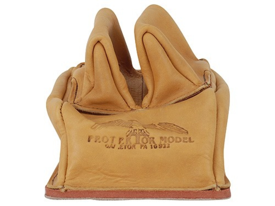 Protektor Custom Rabbit Ear Rear Shooting Rest Bag with Heavy Bottom Leather Tan Unfilled