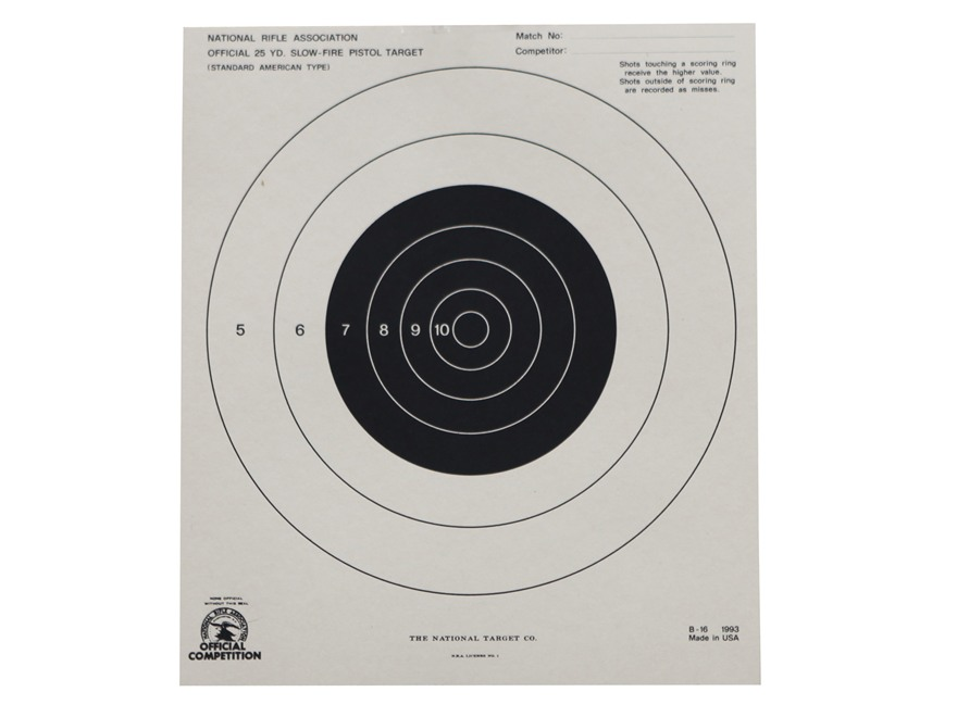 NRA Official Pistol Targets B-16 25 Yard Slow Fire Paper Package of 100