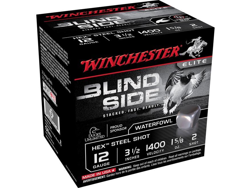 "Winchester Blind Side Ammunition 12 Gauge 3-1/2"" 1-5/8 oz #2 Non-Toxic Steel Shot"