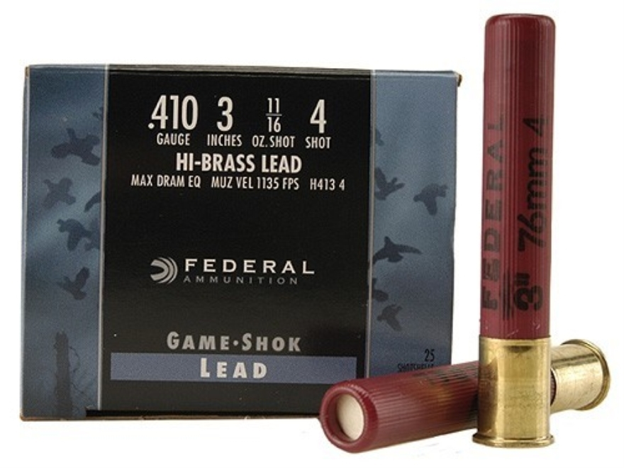 "Federal Game-Shok Hi-Brass Ammunition 410 Bore 3"" 11/16 oz #4 Shot Box of 25"