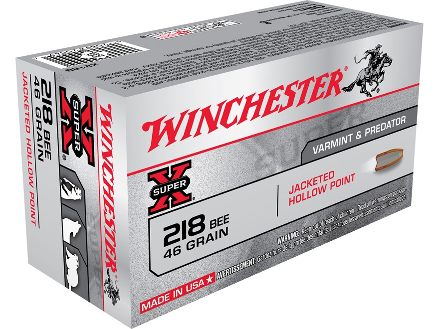 Winchester Super-X Ammunition 218 Bee 46 Grain Jacketed Hollow Point