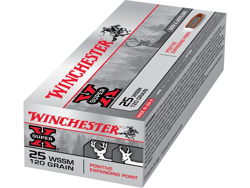 Winchester Super-X Ammunition 25 Winchester Super Short Magnum (WSSM) 120 Grain Positive Expanding Point