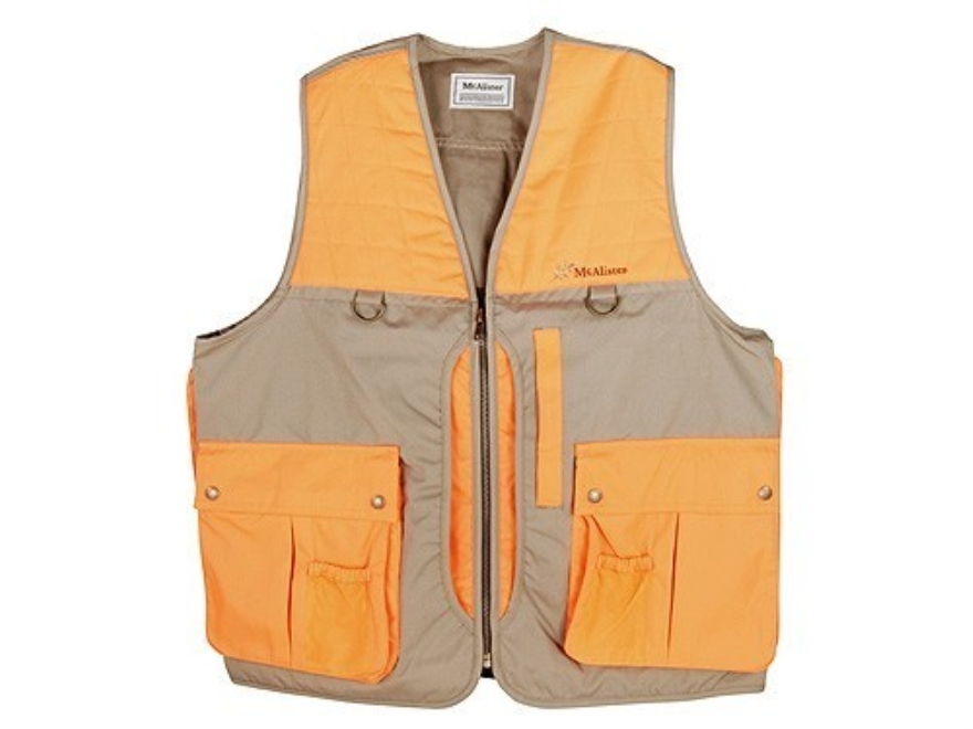 McAlister Men's Upland Vest Nylon Field Tan and Blaze Orange Large