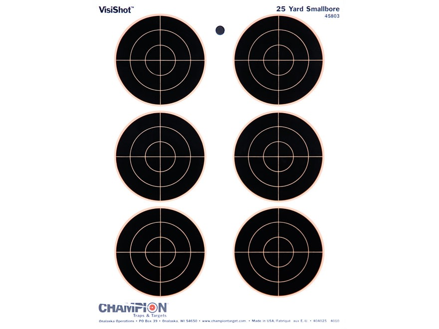 "Champion VisiShot 3"" Bullseyes Targets 8.5"" x 11"" Paper Package of 10"