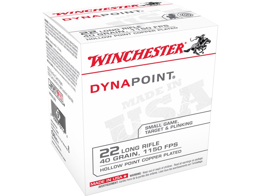 Winchester Dynapoint Ammunition 22 Long Rifle 40 Grain Plated Lead Hollow Point Box of ...