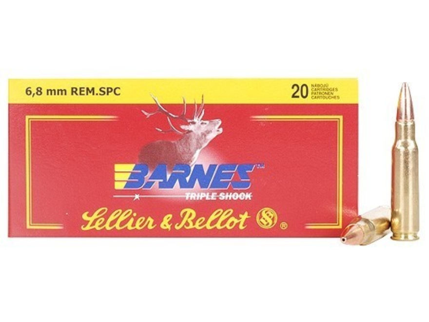 Sellier & Bellot Ammunition 6.8mm Remington SPC 110 Grain Barnes Triple-Shock X Bullet Box of 20