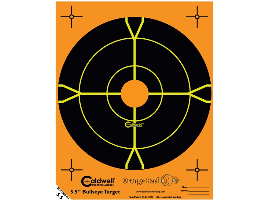 "Caldwell Orange Peel Targets 5-1/2"" Self-Adhesive Bullseye Pack of 50 Factory Second"