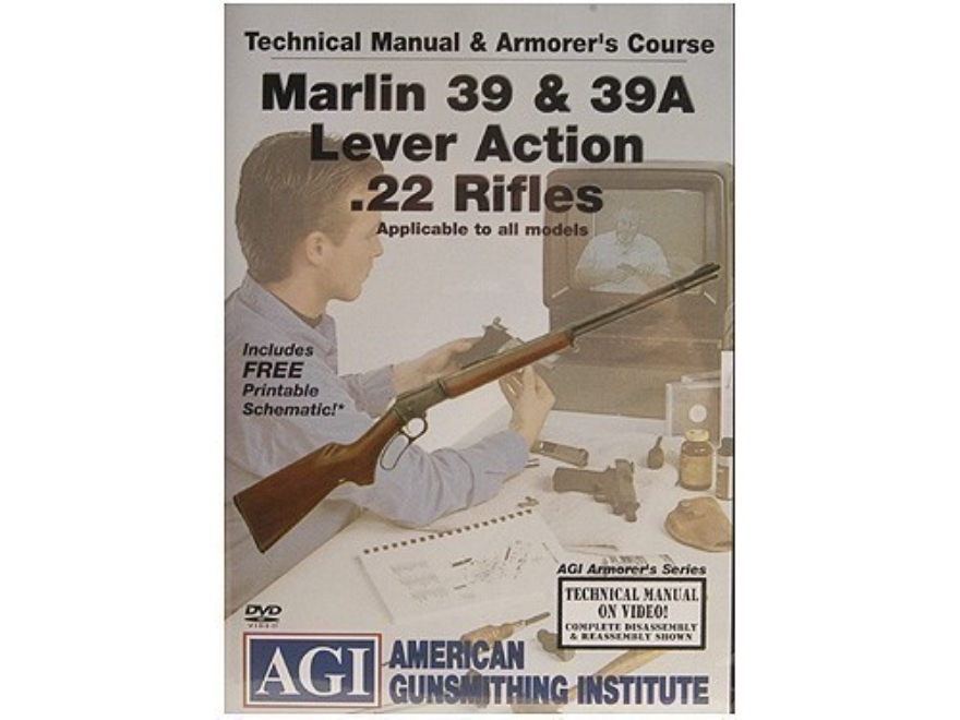 "American Gunsmithing Institute (AGI) Technical Manual & Armorer's Course Video ""Marlin 39 & 39A Lever Action .22 Rifles"" DVD"