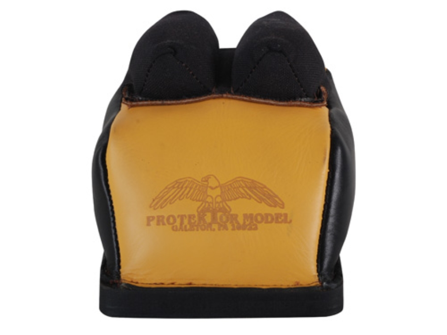 Protektor Deluxe Double Stitched Bunny Ear Rear Shooting Rest Bag with Heavy Doughnut Bottom Leather and Cordura Black and Yellow Filled