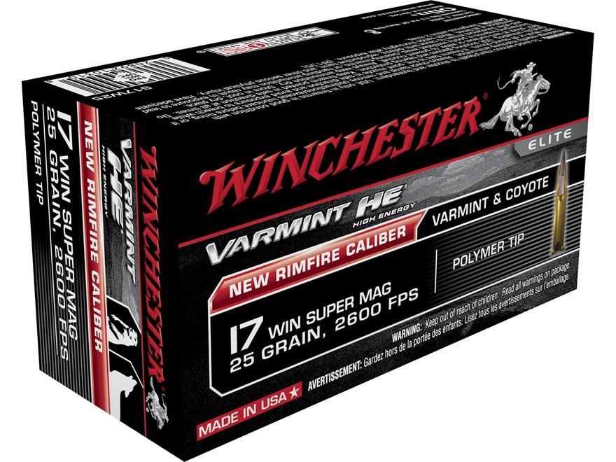 Winchester Varmint High Energy Ammunition 17 Winchester Super Magnum 25 Grain Hornady V-Max