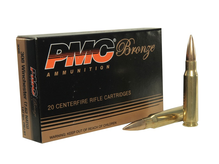 PMC Bronze Ammunition 308 Winchester 147 Grain Full Metal Jacket Box of 20