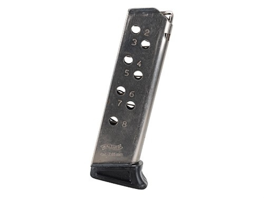 Walther Magazine Walther PPK/S 32 ACP 8-Round Steel Nickel Plated with Finger Rest