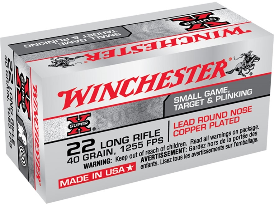 Winchester Super-X High Velocity Ammo 22 Long Rifle 40 Grain Plated