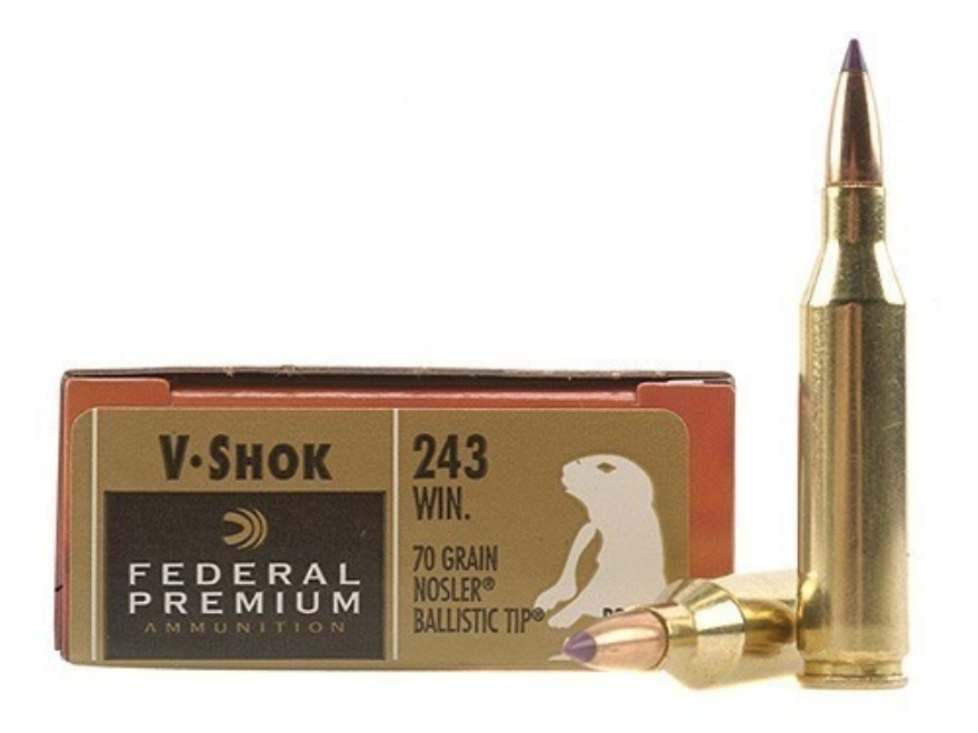 Federal Premium V-Shok Ammunition 243 Winchester 70 Grain Nosler Ballistic Tip Box of 20