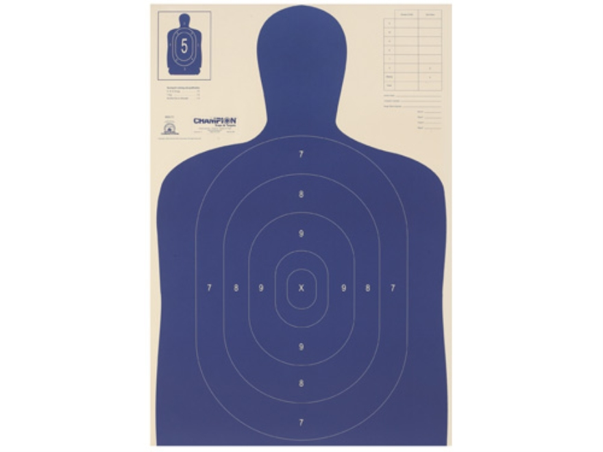 "Champion LE Police Silhouette Targets B-27 E 22.5"" x 35"" Paper Package of 100"