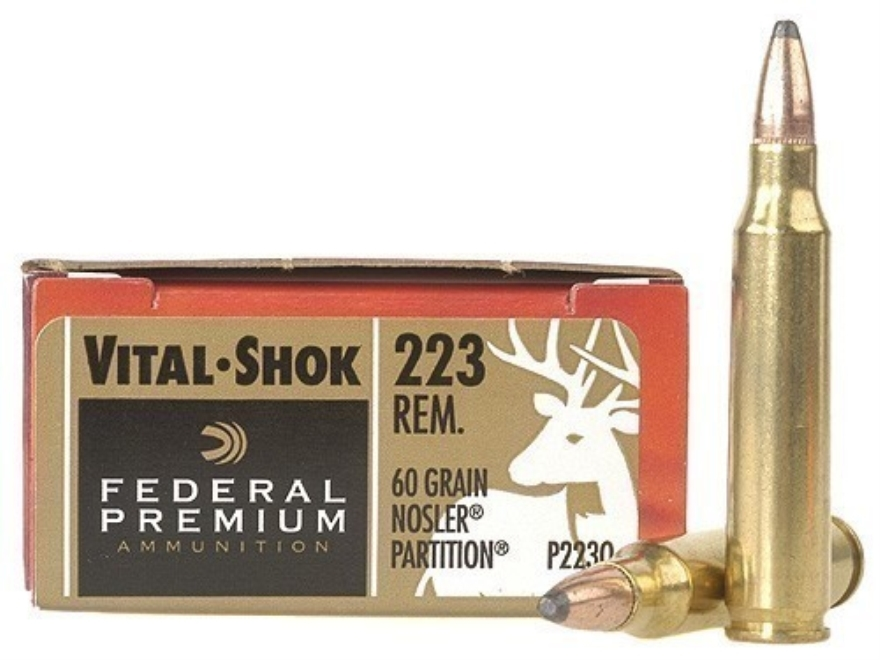 Federal Premium Vital-Shok Ammunition 223 Remington 60 Grain Nosler Partition Box of 20