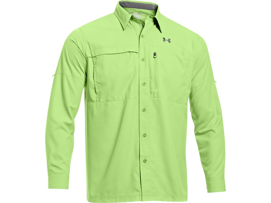 Under Armour Men's UA Flats Guide Long Sleeve Shirt Polyester Celery Medium 38-40
