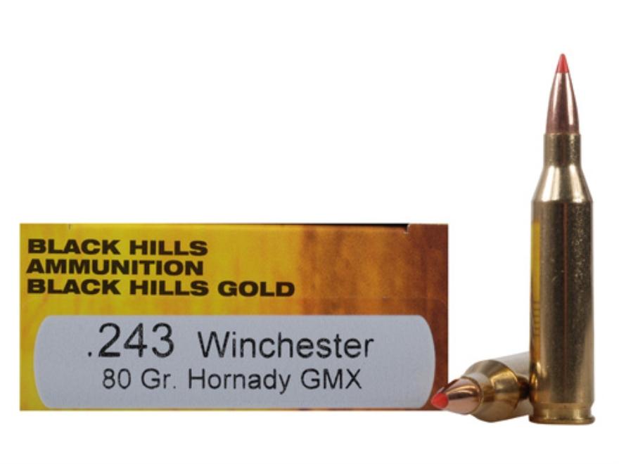Black Hills Gold Ammunition 243 Winchester 80 Grain Hornady GMX Lead-Free Box of 20