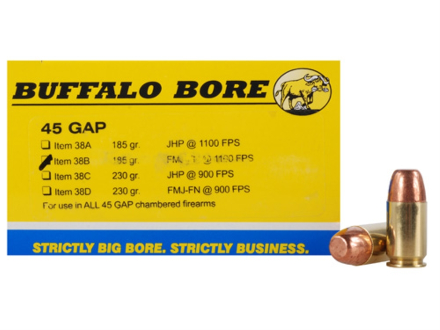 Buffalo Bore Ammunition 45 GAP 185 Grain Full Metal Jacket Flat Nose Box of 20