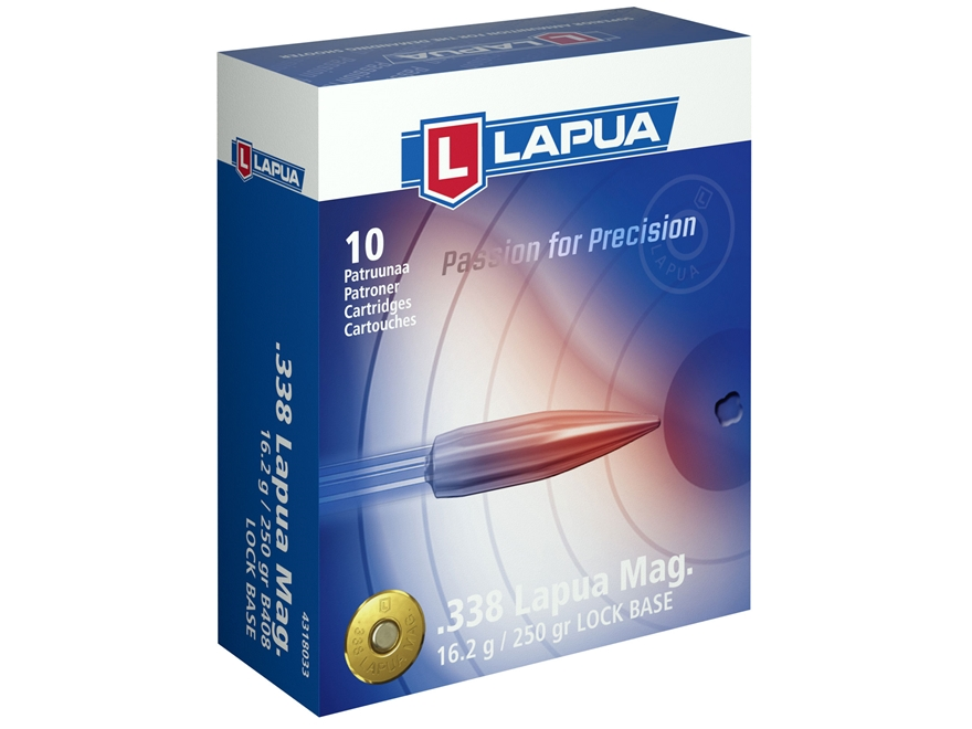 Lapua Lock Base Ammunition 338 Lapua Magnum 250 Grain Full Metal Jacket Box of 10