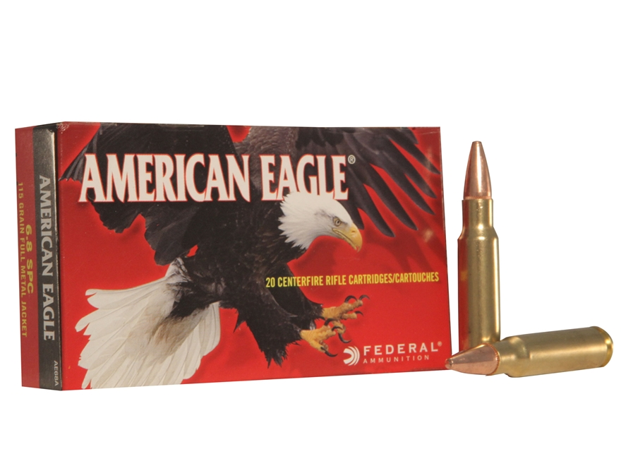 Federal American Eagle Ammunition 6.8mm Remington SPC 115 Grain Full Metal Jacket Box of 20