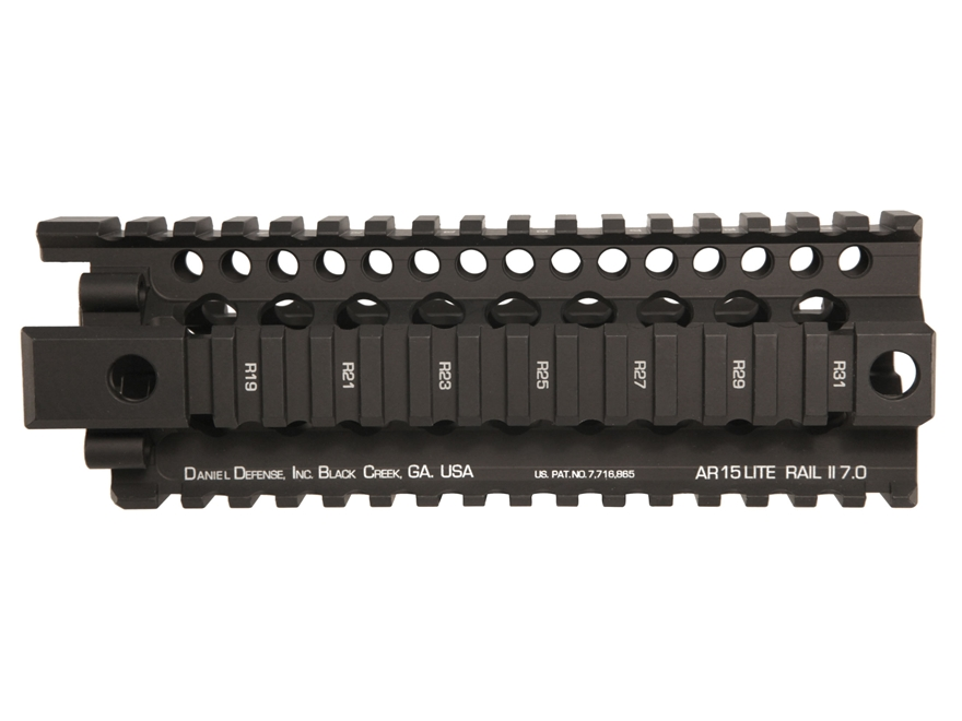 Daniel Defense Lite Rail II 7.0 Free Float Tube Handguard Quad Rail AR-15 Carbine Length Aluminum Black