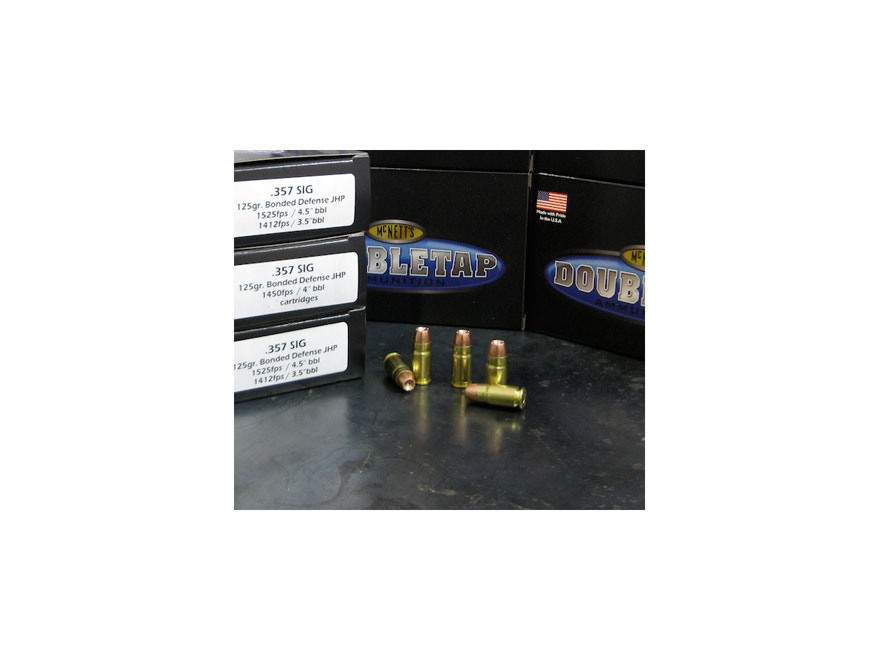Doubletap Ammunition 357 Sig 125 Grain Bonded Defense Jacketed Hollow Point Box of 50